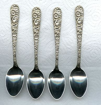 4 Repousse Teapoon 5-7/8 inch by S. Kirk and Son Sterling Silver 4 spoons