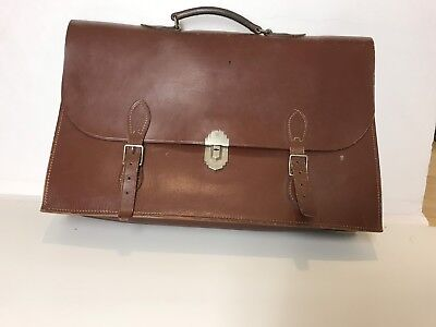 """Authentic Oldie/Vintage Military Briefcase Brown Leather Large 17.5x11.5x4.5"""""""