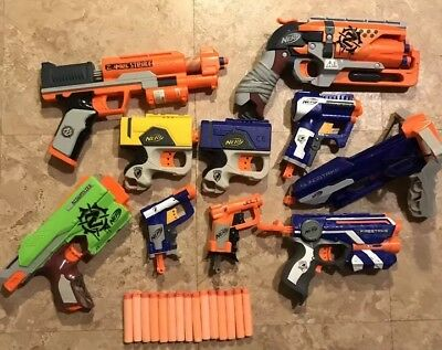 Nerf Guns Lot of 10 With Darts