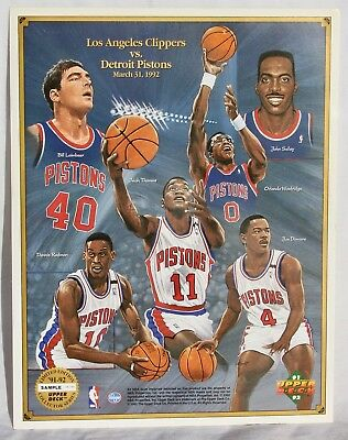 UPPER DECK '91-'92 LA CLIPPERS vs. DETROIT PISTONS SAMPLE PROMO SHEET - LTD ED.