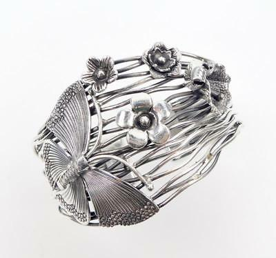 56G Sterling Silver Thailand Hill Tribe Butterfly Flower Large Open Cuff Bangle