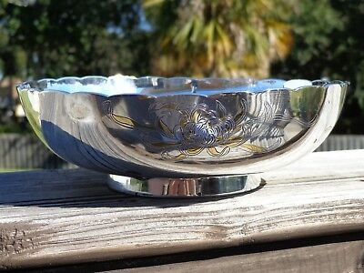 Beautiful Vintage Japanese Silver Presentation Bowl With Gold Inlay Must See!!