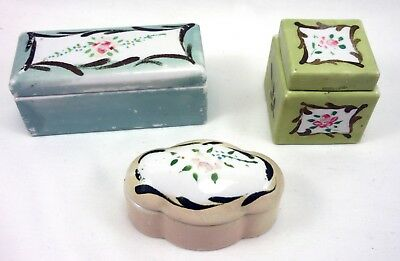 Three 3 Vintage Antique Hand Painted Floral Porcelain Desk Stamp Box Ink Well!!
