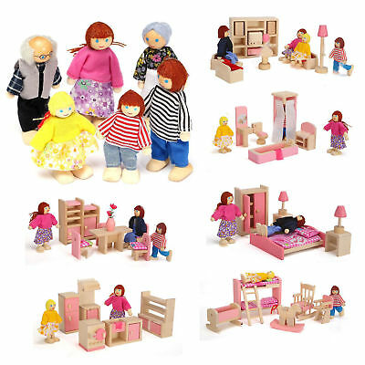 Wooden Furniture 6 Room Set Dolls House Family Miniature Kid Baby Play Toy Gifts