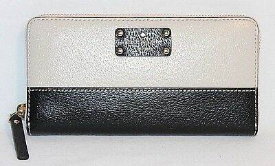 "New Kate Spade New York- ""Neda"" Wellesley Leather Wallet: Pebbled Black/White"