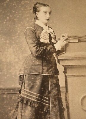 Antique Victorian CDV Photograph New Zealand Big Dress Jewelry Woman Lady!