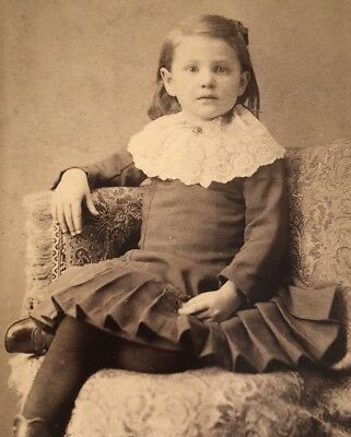 Antique Victorian CDV Photograph Danville PA. Pretty Little Girl Dressed Up!:)