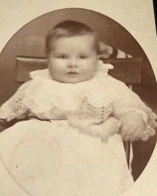 Antique Victorian CDV Photograph Gallipolis OH. Hand Hold Head Still Baby Girl!