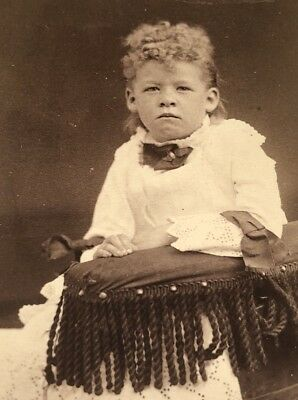 Antique Victorian CDV Photograph Kanawha River OH. Curly Hair Kid Boy Child!:)