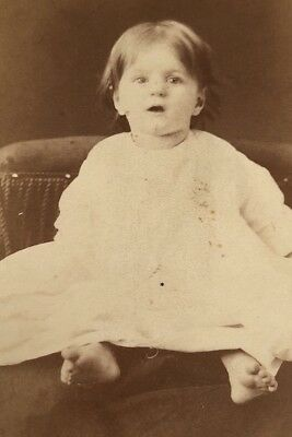 Antique Victorian CDV Photograph Three Rivers MI. No Shoes Cute Baby Girl!:)