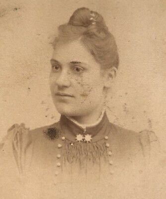 Antique Victorian CDV Photograph Norrland Sweden Jewelry Woman Lady!