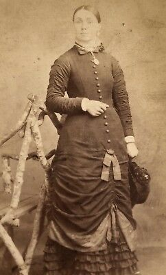 Antique Victorian CDV Photograph Big Mourning Dress Jewelry Woman Lady!