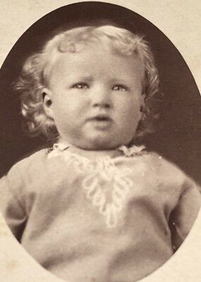 Antique Victorian CDV Photograph Pomeroy OH Adorable Blonde Curly Baby Girl!