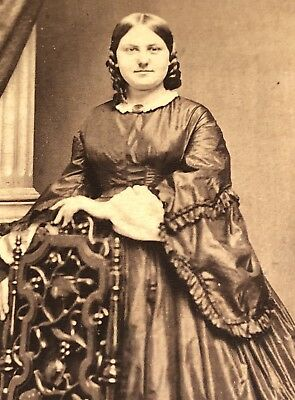 Antique Victorian CDV Photograph Beautiful Woman Big Fashion Mourning Dress!