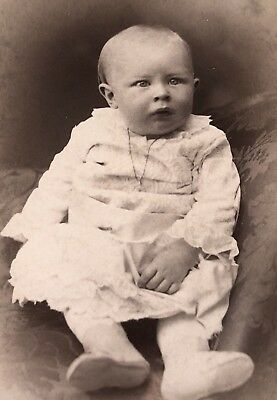 Antique Victorian CDV Photograph Wichita Kas. Adorable Baby Girl With Necklace!