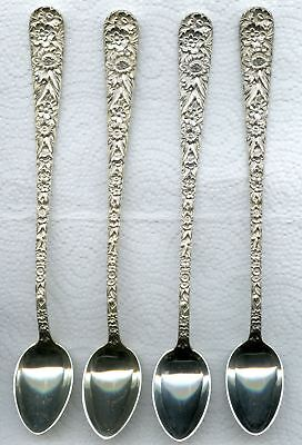 4 Repousse Iced spoon 7-5/8 inch by S. Kirk and Son Sterling Silver Momogrammed