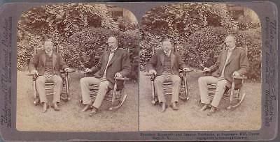 Stereoview  Roosevelt & Vice President (Senator) Fairbanks Oyster Bay New York