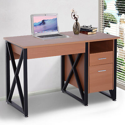 Lift-up Computer Desk Wood Top Office Workstation Laptop Table w/ 2 Drawers Home