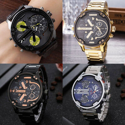 Men's Stainless Steel Sport Military Army Fashion Quartz Analog Wrist Watch Gift