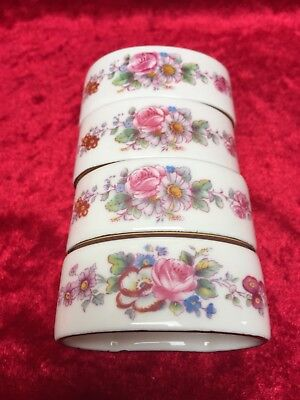 Set of 4 ROYAL CROWN DERBY 'DERBY CHINA' NAPKIN RINGS 1965 & 1966