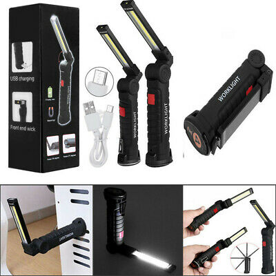 LED COB Rechargeable Magnetic Torch Inspection Lamp Cordless Work Light + Hook