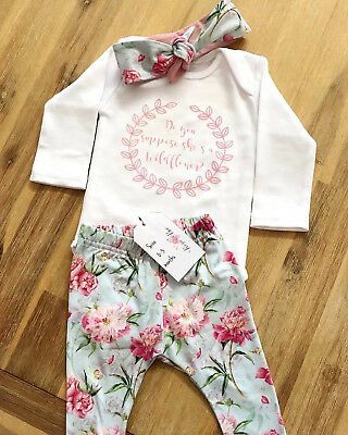 Baby Girls Infant Romper Bodysuit + Floral Pants Leggings Outfits Clothes