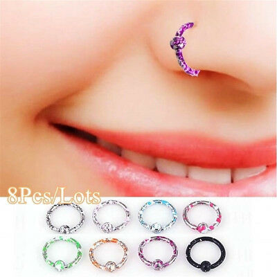 8Pcs Seamless Hinged Segment Sleeper Ring Hoop Ear Lip Nose Septum Piercing Hot