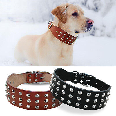 Rivets Studded Thick Genuine Leather Dog Collars for Small to Large Dogs