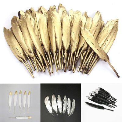 10PCs Retro Natural Goose Feather 4-6 Inches Gold/Silver Feather DIY Room Decor