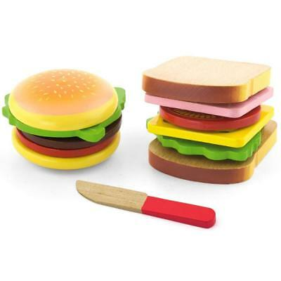 Viga Wooden hamburger e sandwich set