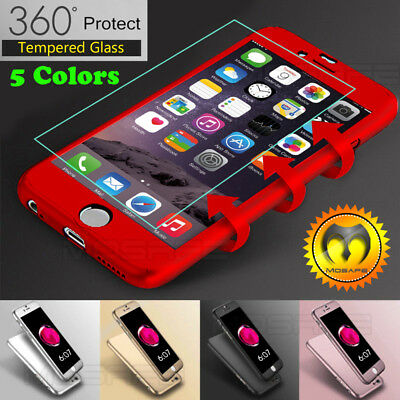 360° Ultra Thin Hard Case Cover For Apple iphone+Tempered Glass Screen Protector