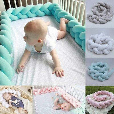 Baby Bed Pillow Bumper Long Knotted Braid Weaving Plush Baby Crib Protector