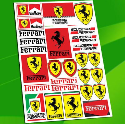 Planche 27 Autocollants Auto Moto Voiture Stickers Ferrari Scuderia Racing D 1