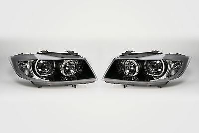BMW 3 Series E90 05-08 Saloon Black Projector LED Angel Eyes Headlamps Pair Set