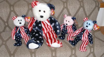 Three (3) Ty Beanie Babies + Buddy - SPANGLE  - Red, White and Blue - MWMT