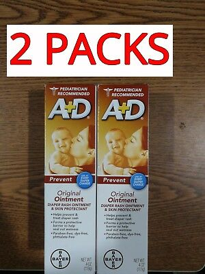 2 Packs Of Bayer A+D Original Diaper Rash Ointment And Skin Protectant 4 Oz New!