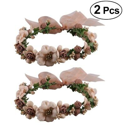 2 Girl Wedding Flower Hair Headband Garland Crown Floral Wreath Hairband Beach
