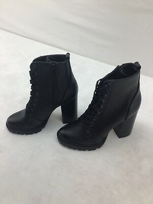 b4b0ef81d STEVE MADDEN LAURIE Black Leather Ankle Boots Size 7.5 M MY F5842 ...