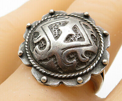 925 Sterling Silver- Vintage Antique Dark Toned Victorian Band Ring Sz 8 - R5033