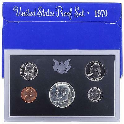 1970 S Proof Set Original Box Small Date Cent! US Mint 5 Coins