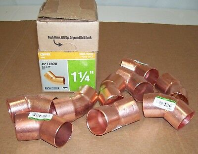 "(9) Everbilt Nibco 1-1/4"" 45 Degree Elbow Cup x Cup C x C  Wrot Copper C606 (HD)"