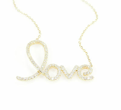 14K Love Diamond Necklace Yellow Gold