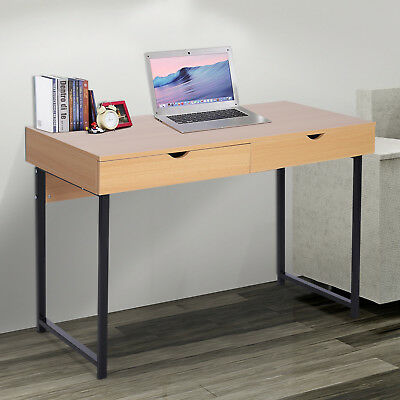 "48""L Wood Modern Computer Table Storage Study Working Desk w/ Slide Out Drawers"