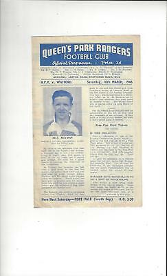 QPR v Watford Football Programme Third Division South Cup 1945/46