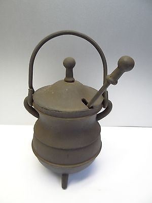Antique Old Metal Cast Iron Carved Wood Bulb Cauldron Shaped Fireplace Starter