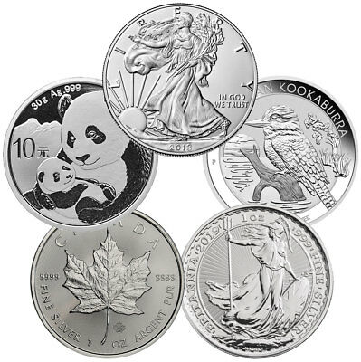 1 oz Silver Top 5 Coin Starter Pack GEM BU Coins SKU54766