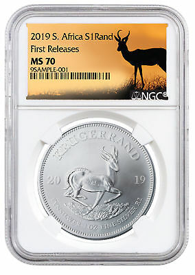 2019 South Africa 1 oz Silver Krugerrand NGC MS70 FR Springbok Label SKU56603