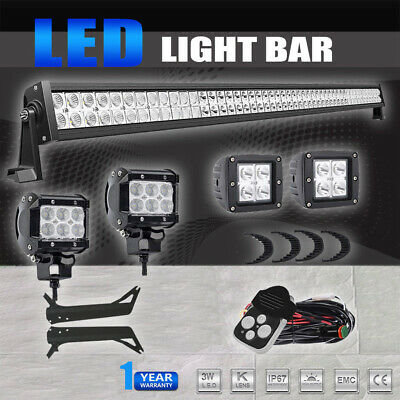 50inch 700W LED Light Bar +18W Pods+Mount Brackets For Jeep Wrangler TJ 97-06 50