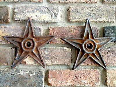 """2 Antique Cast Iron Stars Architectural Salvage 9"""" American Hot Plate Snow Birds"""