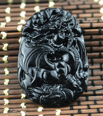 Jadeite necklace engraving beast(麒麟) black green jade natural pendant Amulet